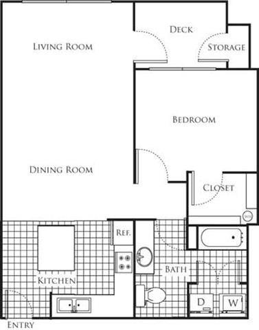 1 Bedroom 1 Bathroom Floor Plan at Bella Terra Apartments, Washington, 98275