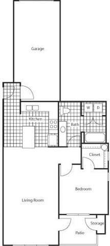 1 Bedroom 1 Bath Floor Plan at Bella Terra Apartments, Mukilteo