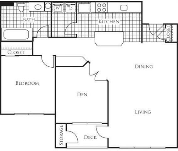 Palermo 935 1 Bedroom 1 Bathroom Floor Plan at Bella Terra Apartments, Mukilteo, WA, 98275
