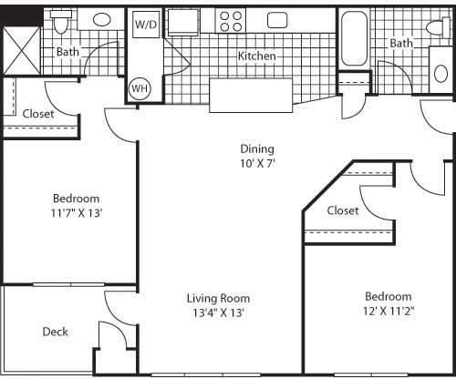 Venice 2 Bed 2 Bath Floor Plan at Bella Terra Apartments, Mukilteo