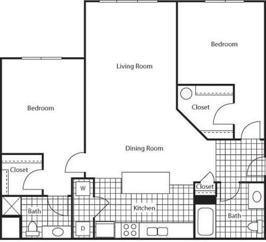 2 Bedroom 2 Bathroom Floor Plan at Bella Terra Apartments, Mukilteo, Washington