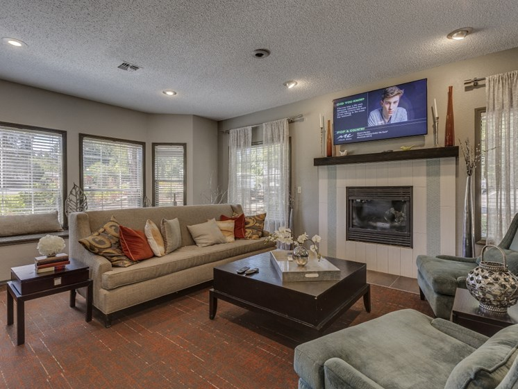 Indoor Fireplace in Living Rooms  at Cedar Crest, Beaverton
