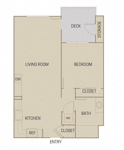 1 bed 1 Bath 712 square feet floor plan A1C