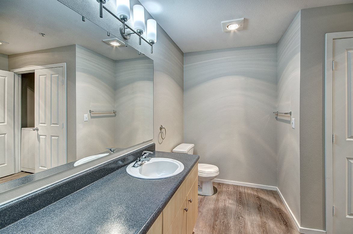 Bathroom With Adequate Storage at Bella Terra Apartments, Mukilteo, WA, 98275