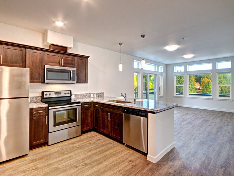 Designer Kitchen Cabinets with Soft Close at Emerald Crest, Bothell, WA 98011