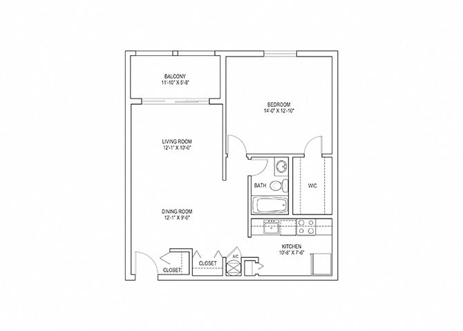 1 Bed, 1 Bath, 768 sq. ft. Crane floorplan