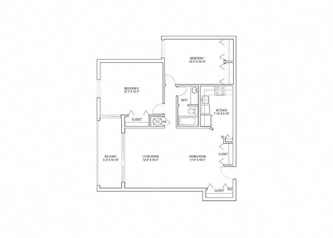 2 Bed, 1 Bath, 1074 sq. ft. Flamingo floor plan