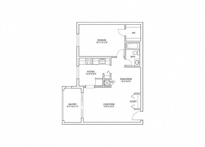 1 Bed, 1 Bath, 830 sq. ft. Heron floorplan
