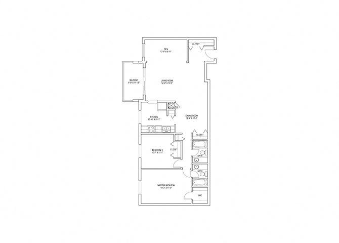2 Bed, 2 Bath, 1248 sq. ft. Jaeger floor plan