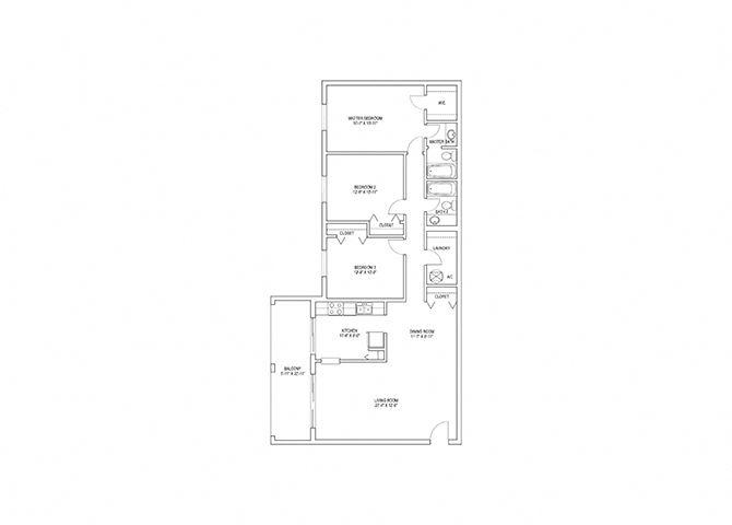 3 Bed, 2 Bath, 1450 sq. ft. Osprey floor plan