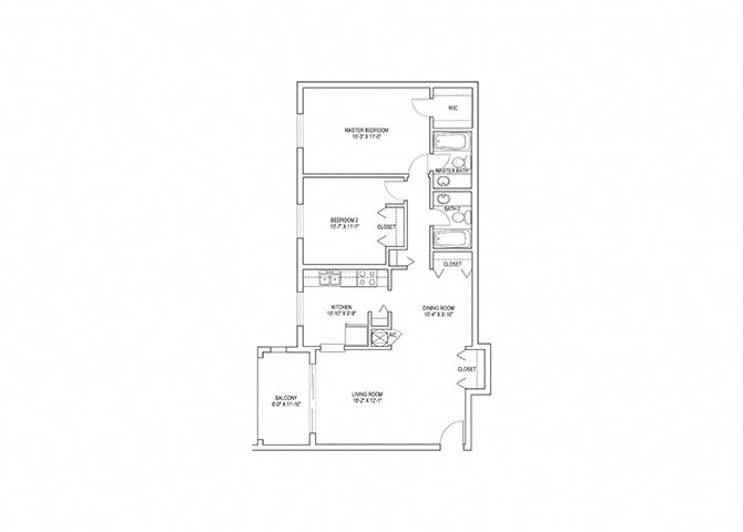 2 Bed, 2 Bath, 1048 sq. ft. Swan floor plan