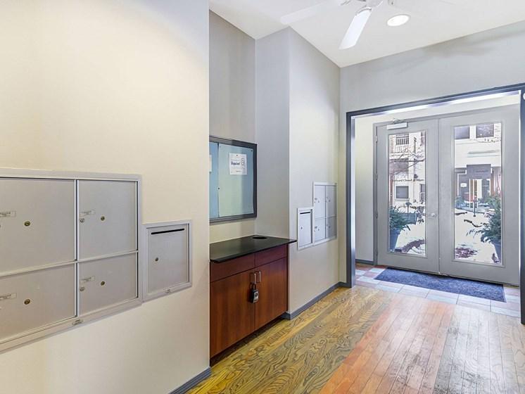 wide hallway/mail room
