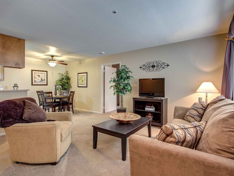 Dog Friendly Apartments in Manteca CA - Stonegate Apartments Cozy Living Room with Fireplace