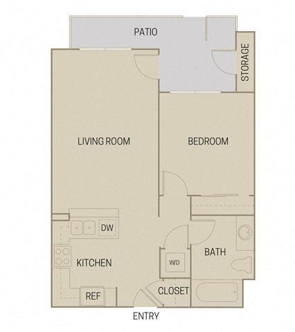 1 bed 1 Bath 669 square feet floor plan A1A