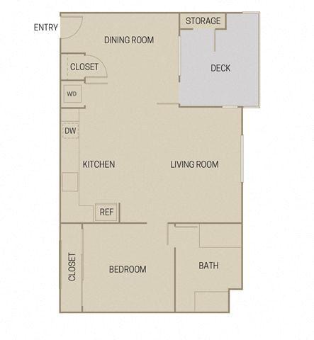 1 bed 1 Bath 806 square feet floor plan A1E