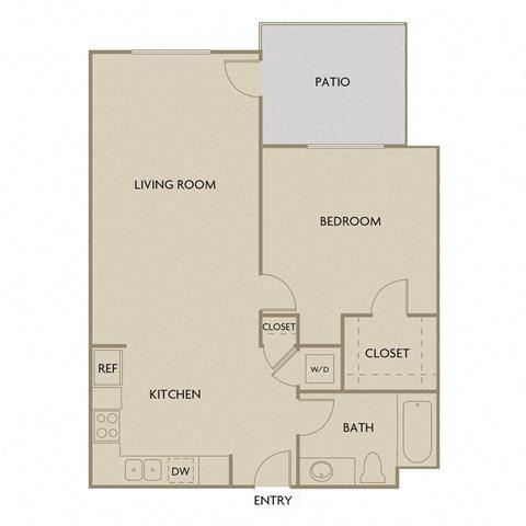 1 bed 1 Bath 834 square feet floor plan A1F