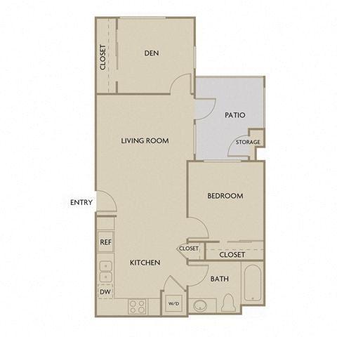 2 bed 1 Bath 787 square feet floor plan B1A