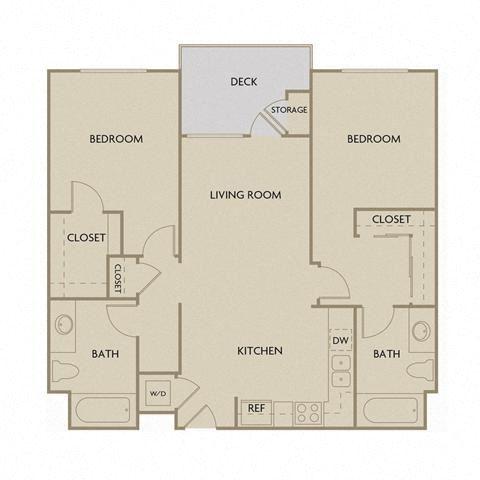 2 bed 2 Bath 1073 square feet floor plan B2A