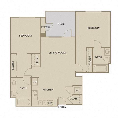 2 bed 2 Bath 1113 square feet floor plan B2B