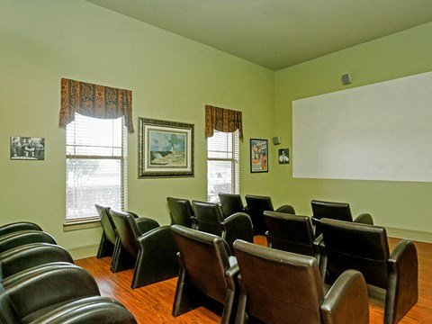 Portofino Senior Apartments community movie room