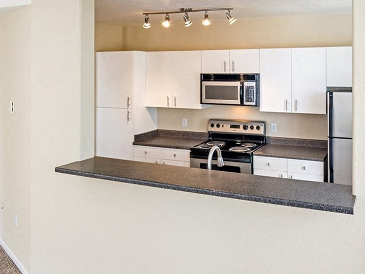 kitchen with breakfast bar in specific apartments