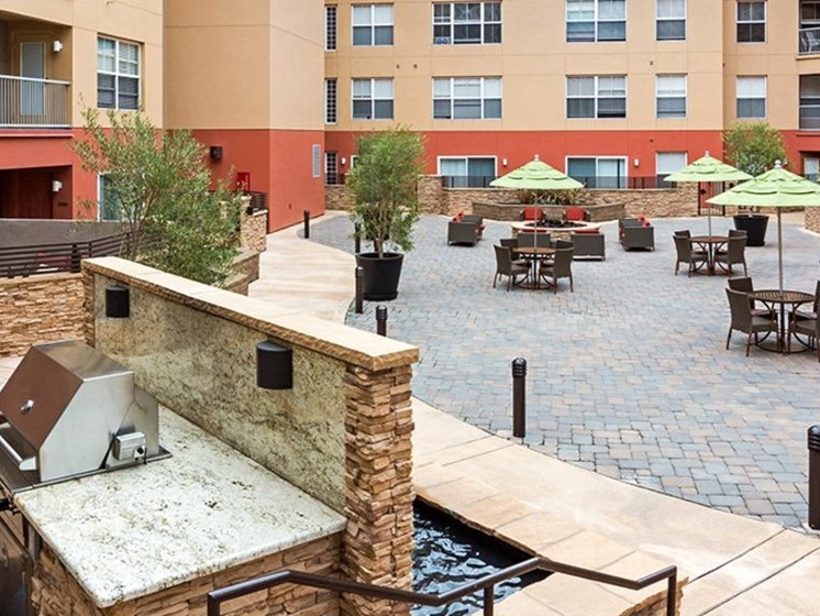 Open Air Courtyard with Viking BBQ Grill and Fire Pit Lounge Area