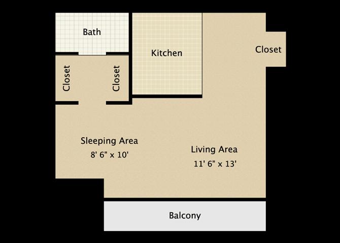 AYA Studio Apartment Floor Plan
