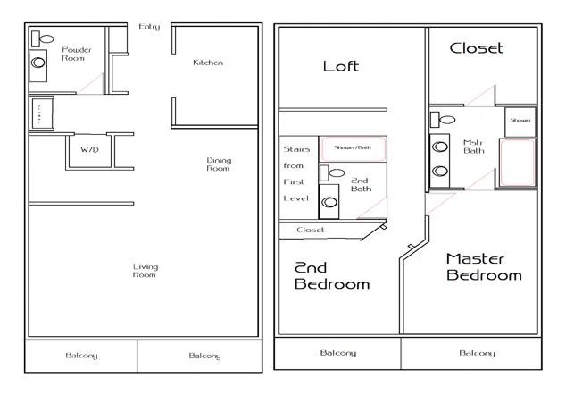 2 Bed - 2 Bath, 1714 sq ft, townhome w/ loft  floor plan