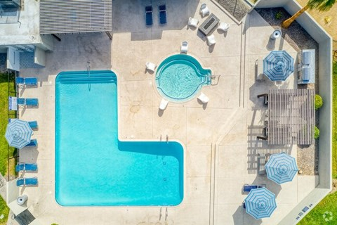 overhead view of pool area