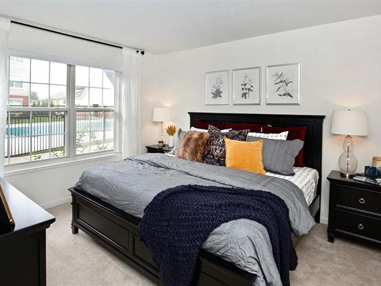 master bedroom at Village Woods apartments