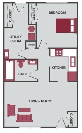 one bedroom floor plan Lansing