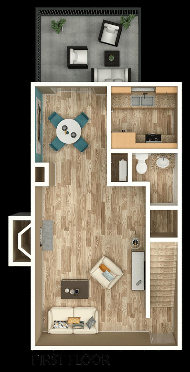 2 bedroom apartment townhome floor plan