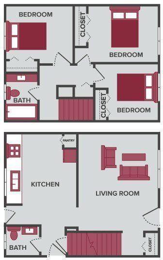 three bedroom floor plan Lansing