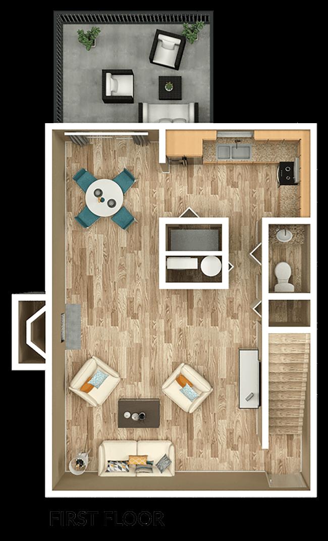 second floor of 3 bedroom apt townhome floor plan