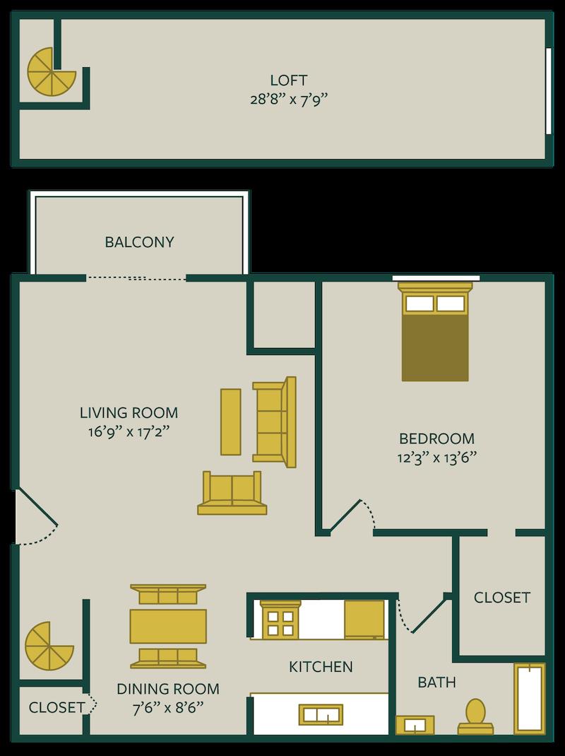 one bedroom one bath floor plan with loft