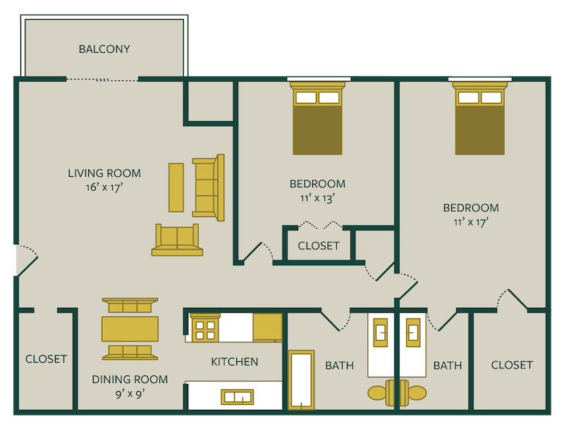 two bedroom one and a half bath floor plan