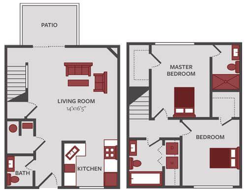 2 bedroom townhome floor plan