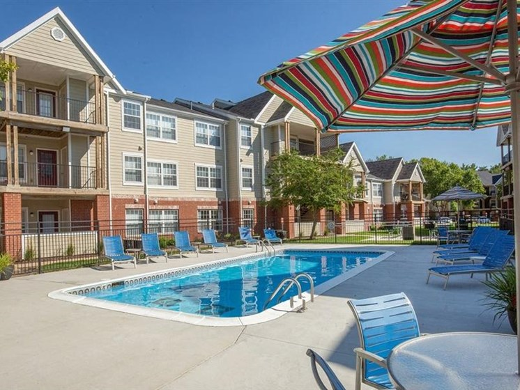 Swimming pool at Village Woods Apartments in Milan, IL