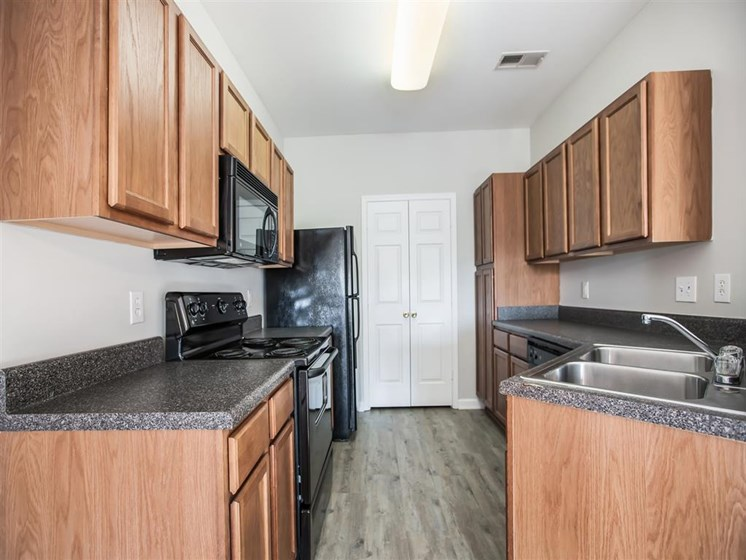 kitchen at carver falls apartment fayetteville