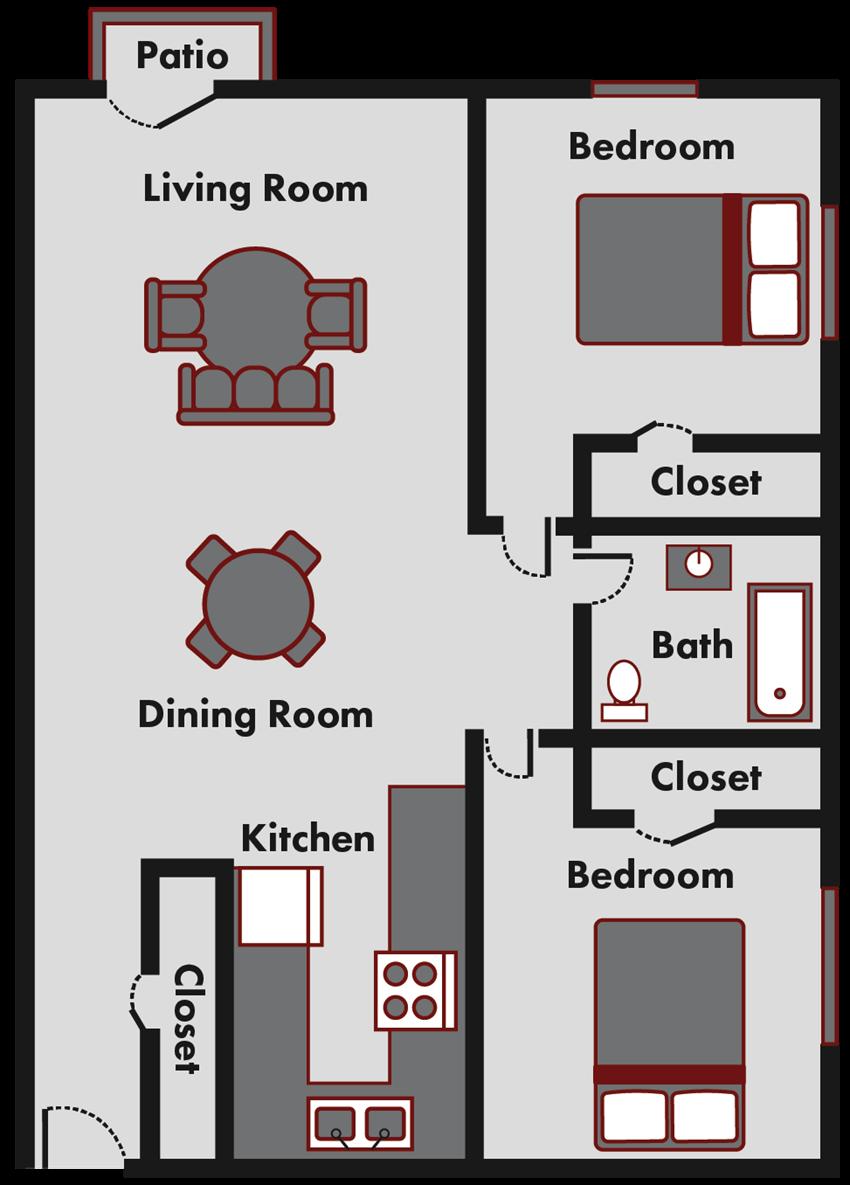2 bedroom apt floor plan in Marquette mi