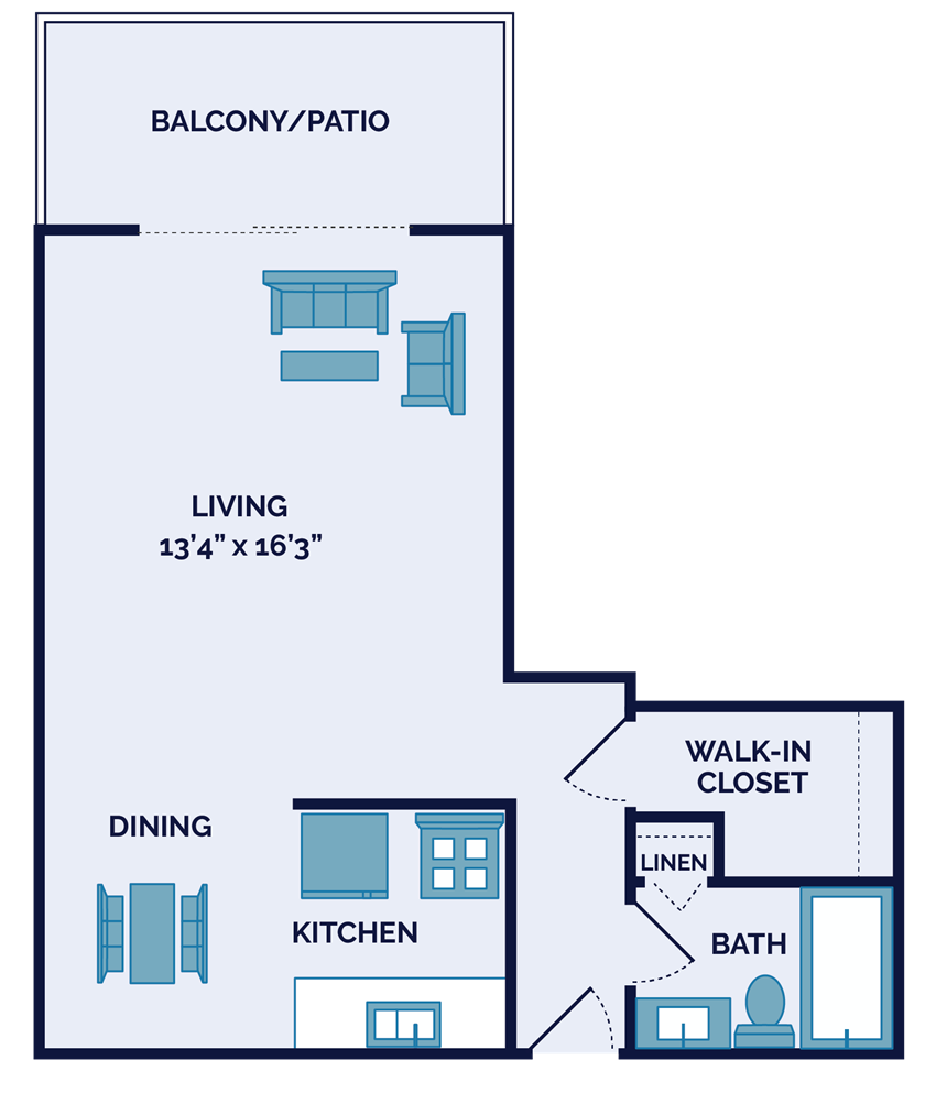 studio apartment floor plan in Springdale OH