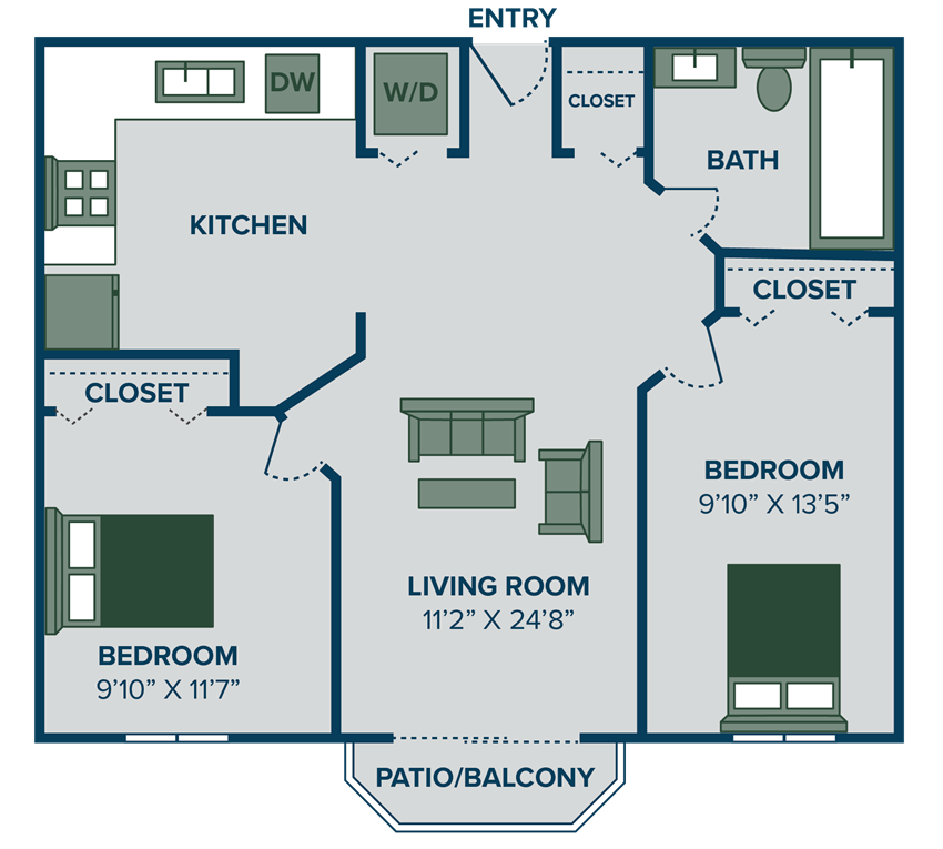 2 bedroom apartment floor plan in Traverse City, MI