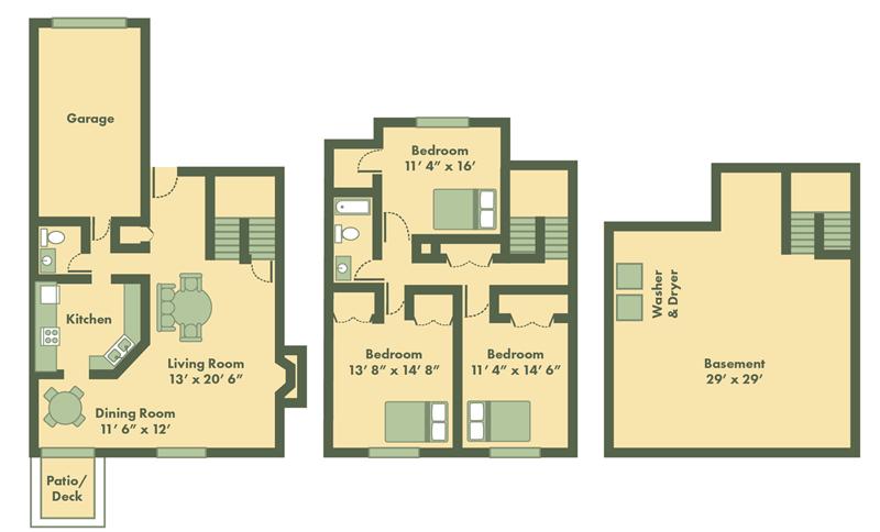 three bedroom townhome floor plan in Topeka
