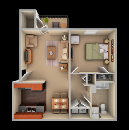 One bedroom, one bathroom floor plan at The Summit on 401 in Fayetteville, NC