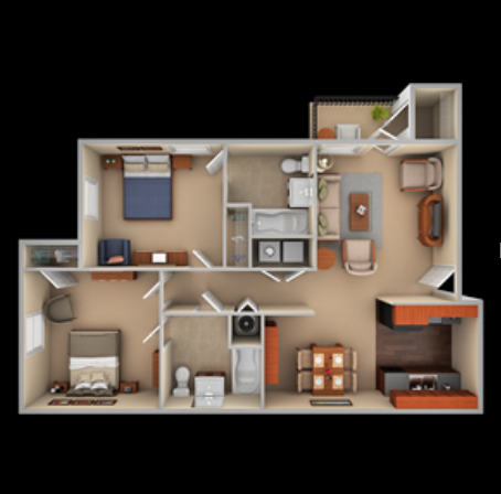 Two bedroom, two bathroom floor plan at The Summit on 401 in Fayetteville, NC
