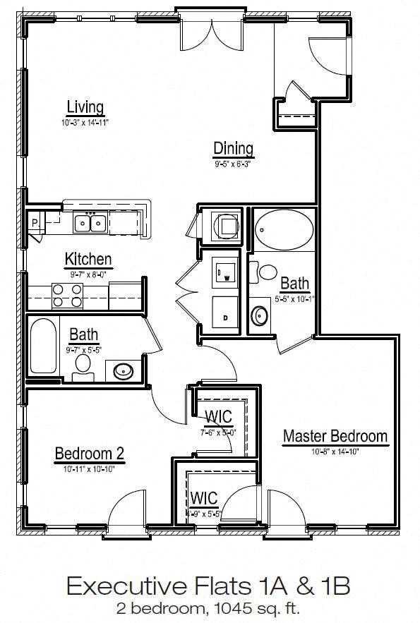 Executive Flats 2-bedroom apartment home at Main Street Square