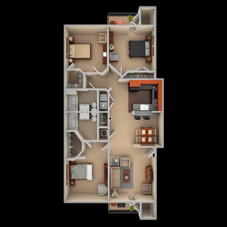 Three bedroom, two bathroom floor plan at The Summit on 401 in Fayetteville, NC