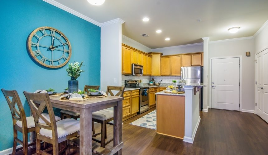 Kitchen and Dining Room at West End at Fayetteville in Fayetteville, NC