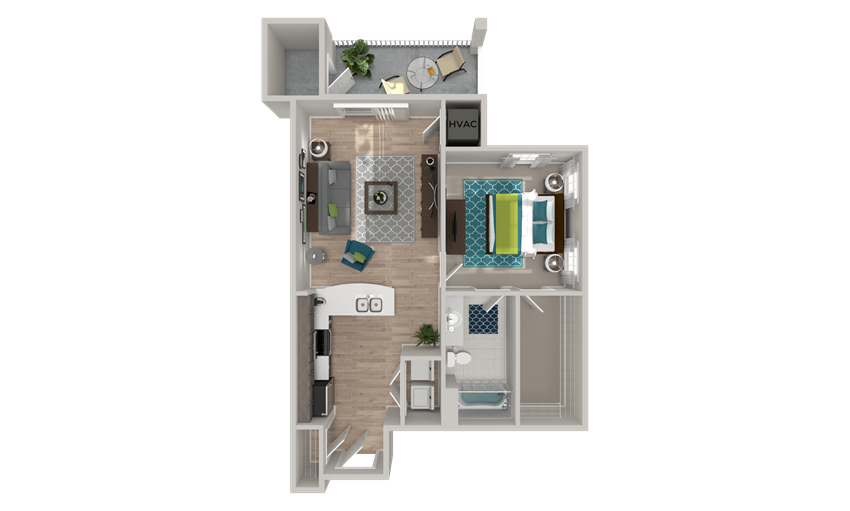 A2 Floor Plan at Crabtree Lakeside in Raleigh, NC