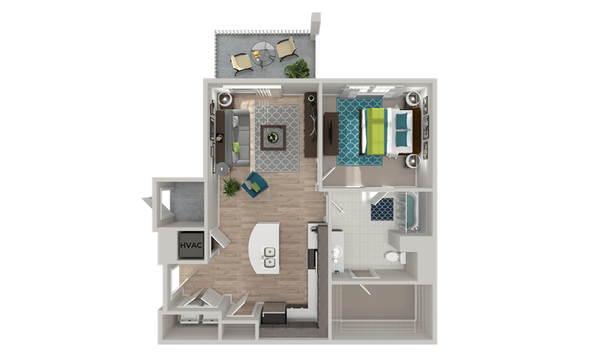 A4 Floor Plan at Crabtree Lakeside in Raleigh, NC